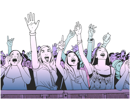 Illustration of festival crowd cheering at concert in color
