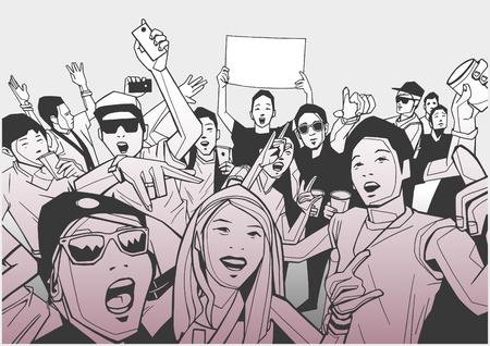 Illustration of festival crowd going crazy at concert Çizim