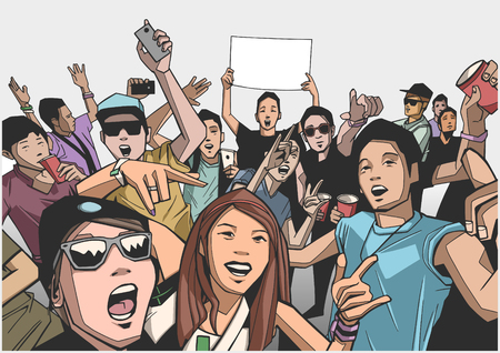 Illustration of festival crowd going crazy at concert in color