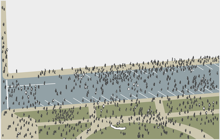 Illustration of crowd protesting and marching from high angle view