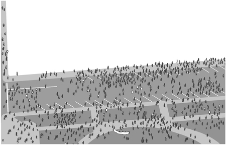 Illustration of crowd protesting and marching from high angle view 向量圖像