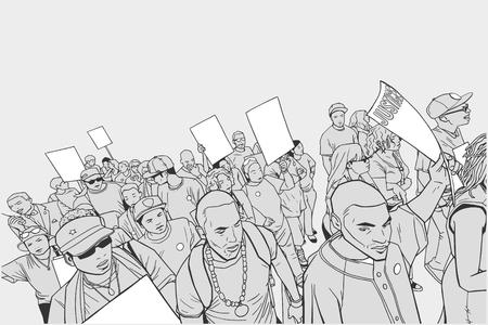 Illustrazione della folla che protesta contro la brutalità della polizia, con segni in bianco
