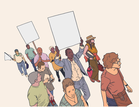 Illustration of crowd protesting for human rights in color with blank signs and flag. Ilustração