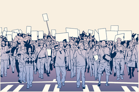 Illustration of demonstrating crowd in peaceful march in color Иллюстрация