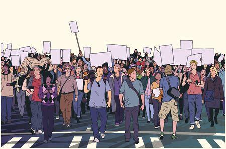 Illustrazione di dimostrare la folla in marcia pacifica a colori