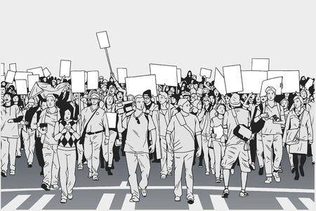 Illustration of demonstrating crowd in peaceful march in grey tones