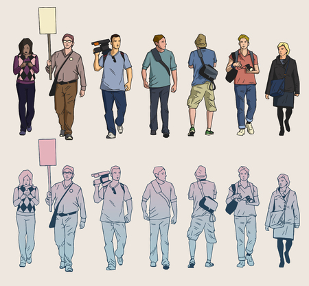 Isolated drawings of protesters and cameramen