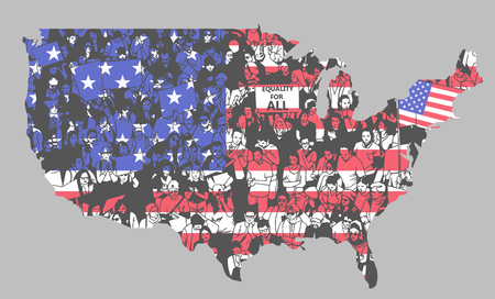 United States of America silhouette with unique texture of people demonstrating for equality and human rights