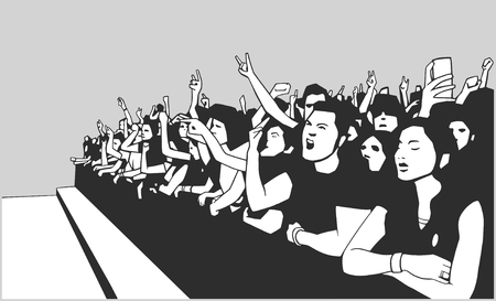 crowd happy people: Illustration of festival crowd going crazy at concert Illustration
