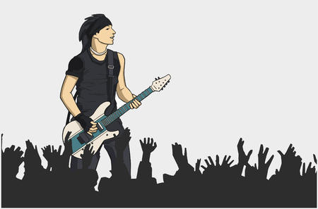 Illustration of guitar player performing on stage with crowd in color