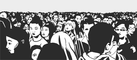 illustration of mixed ethnic crowd