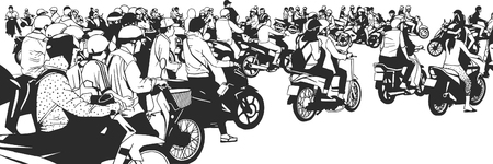 Illustration of busy south east asian city street crowded with motorbikes and mopeds