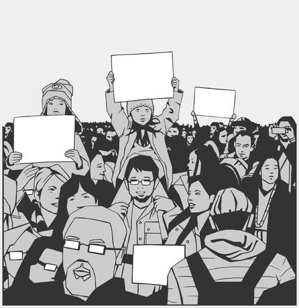 Illustration der friedlichen Menge Demonstration mit Familie, Kinder und ältere Menschen mit leeren Zeichen in schwarz, weiß und grau