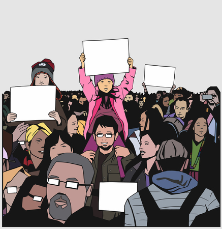 Illustration of peaceful crowd demonstration with family, children and elderly with blank signs in color
