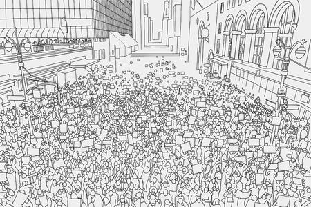 Ilustración de la multitud enorme que alcanza para los derechos humanos en entorno urbano de la vista de ángulo alto Foto de archivo - 77818627