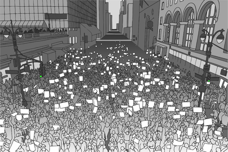 Illustration of massive crowd protesting for human rights in urban environment from high angle view