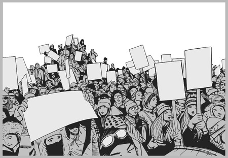Illustration of crowd protesting for human rights with blank signs in perspective and grey scale Illustration