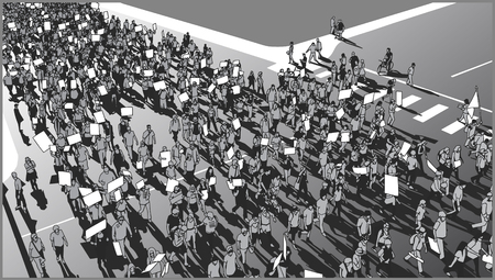 Illustration of crowd protesting for human rights with blank signs and flag in grey scale