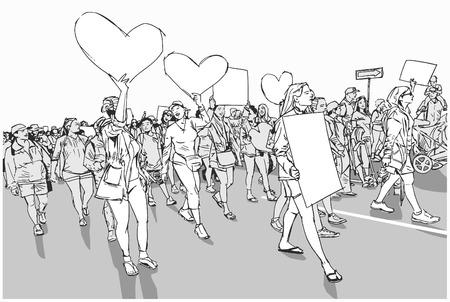Illustrazione della folla in marcia che dimostra per i diritti umani con segni e striscioni in bianco