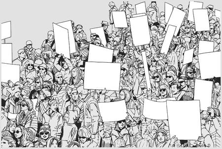 Illustrazione della folla che protesta per i diritti umani con segni e bandiere in bianco