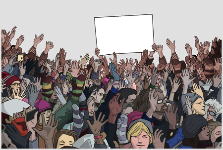 Illustration of protesting crowd with raised hands and empty banner in color
