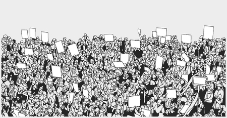 Line art illustration of massive crowd protest with blank signs
