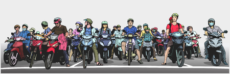 Illustration of busy asian street with motorbikes and mopeds at stop sign in color Illustration
