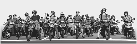 Illustration of busy asian street with motorbikes and mopeds at stop sign in grey scale