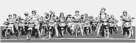 Illustration of busy asian street with motorbikes and mopeds at stop sign Illustration
