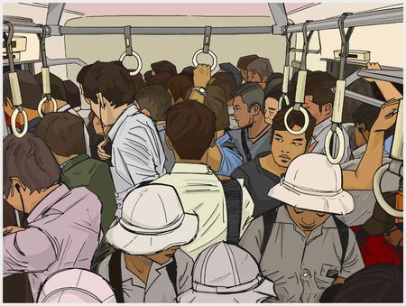 Illustration der überfüllten S-Bahn in Farbe
