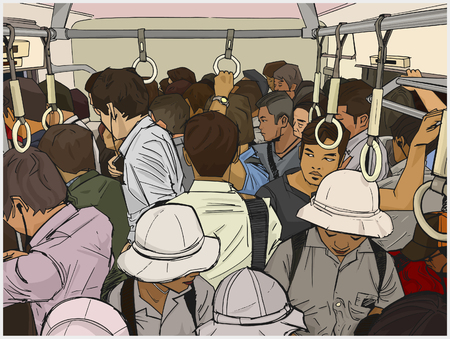 Illustration of crowded commuter train in color