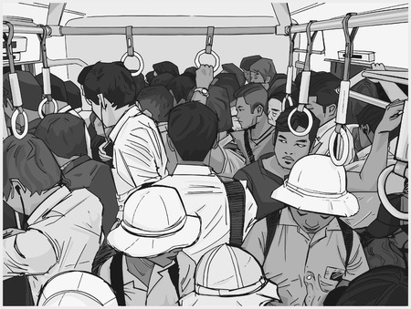 Illustration of crowded commuter train in grey scale Illustration