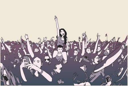 crowd happy people: Illustration of festival crowd going crazy at concert in color