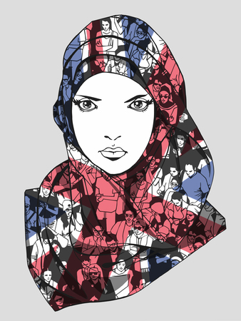 Illustration of appealing muslim woman wearing scarf with unique texture of demonstrating crowd and United Kingdom flag