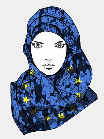 european culture: Illustration of appealing muslim woman wearing scarf with unique texture of demonstrating crowd and European Union flag Illustration