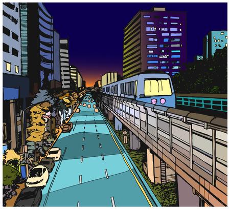 色で地上の地下鉄線と市街地のストリート ビューの図