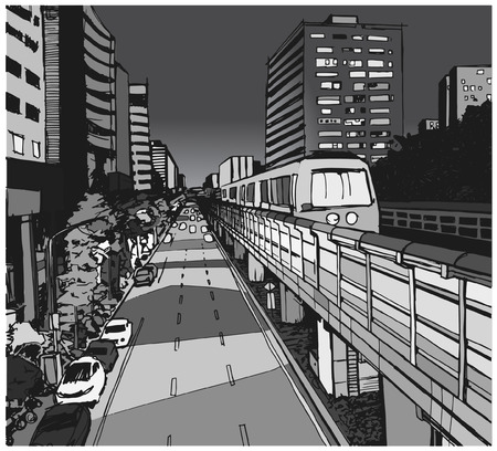 Street view illustration of urban residential area with overground metro line in grey scale