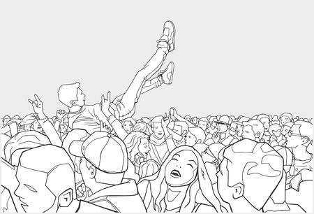 서핑 축제 및 군중의 그림 일러스트
