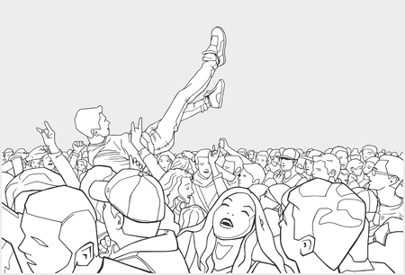 Illustration of festival and crowd surfing