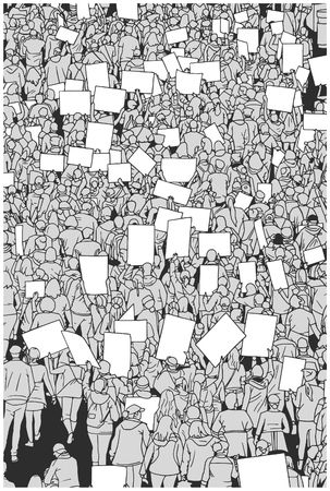 Illustration of protesting crowd with blank signs from high angle view Иллюстрация