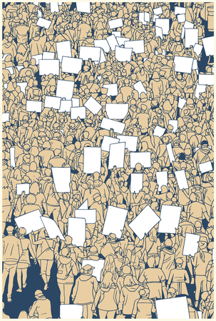 Illustration of protesting crowd with blank signs from high angle view 向量圖像