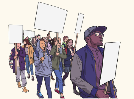 Illustration of student demonstration with blank signs Illustration