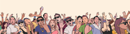 crowd happy people: Illustration of festival crowd having fun at concert in panorama view with detail Illustration