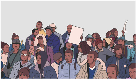 Illustration of mixed ethnic crowd demonstrating for human rights with blank signs 일러스트