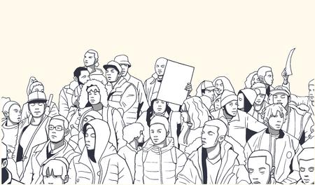 Illustration de la foule ethnique mixte démontrant pour les droits de l'homme avec des signes vierges Banque d'images - 79168113