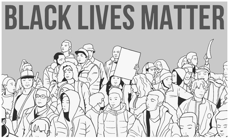 Illustration of mixed ethnic crowd demonstrating for human rights with blank signs Illustration