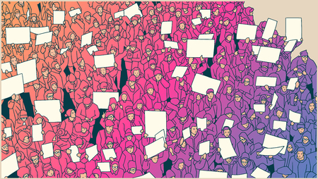 flag: Stylized drawing of crowd protesting against global warming