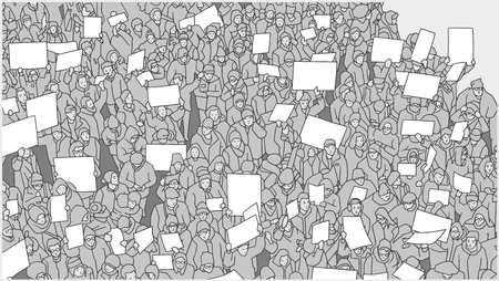 Stylized drawing of crowd protesting against global warming