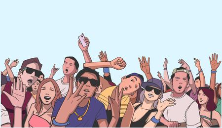 色でのコンサートで発狂祭りの群衆の図  イラスト・ベクター素材
