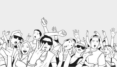 Illustration of festival crowd going crazy at concert Ilustrace
